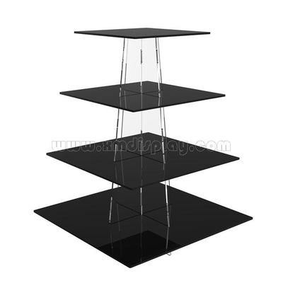 4 Tier Square Acrylic Cup Cake Stand F15012F