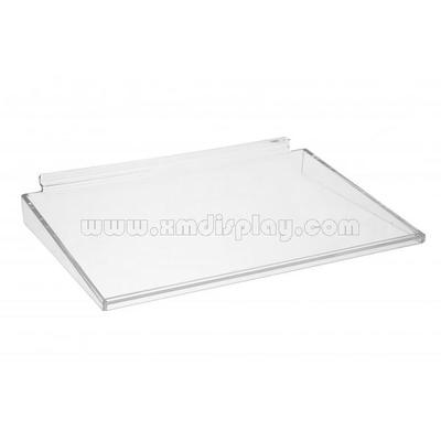 Slatwall Acrylic Shelf with Front Llip & Side Supports F15008S