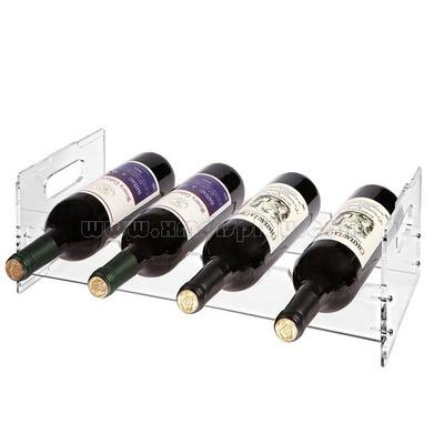 Acrylic Stackable 4 Bottle Organizer Storage Display Wine Rack F15002W